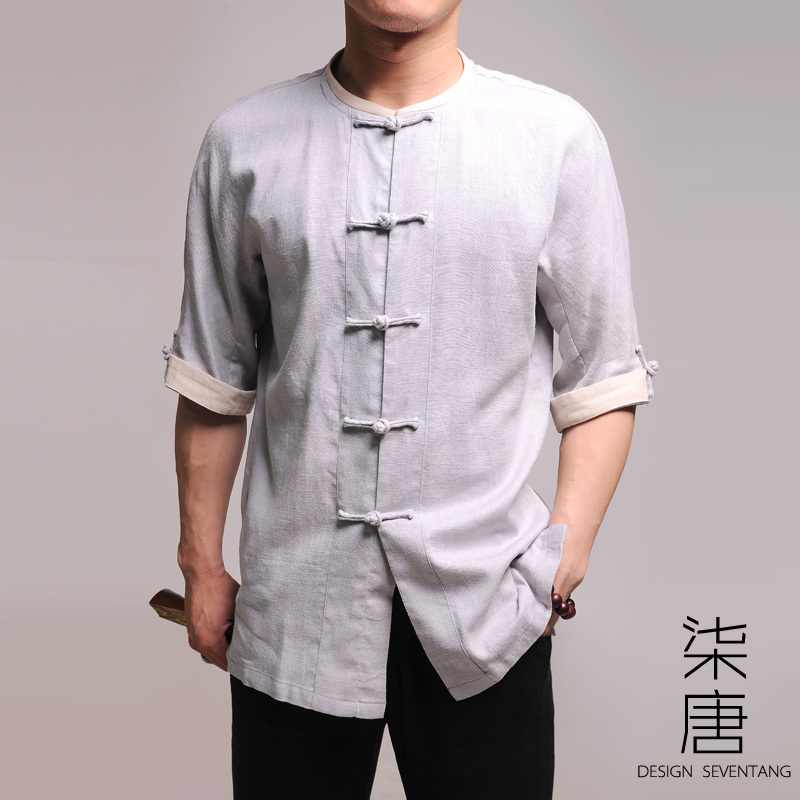 Dressed in view of Don light grey cloud men's clothing company flax fashion Tang Fuyuan sleeve short sleeve blouse brand goods 68