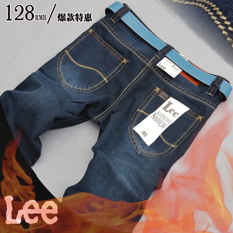 Джинсы мужские LEE 6325 Прямые брюки Утеплённая джинсовая ткань Модная одежда для отдыха 2012
