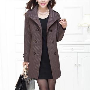 2014中年女装秋装风衣 中老年妈妈装中长款圆点风衣外套