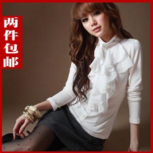 женская рубашка 2012 Повседневный Длинный рукав Однотонный цвет Воротник-стойка