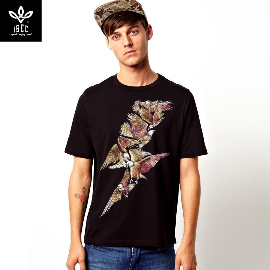 动物图案t恤男短袖时尚老鹰设计大码创意logo图案个性