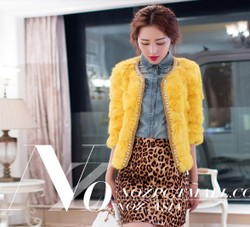 Rabbit zipper beaded diamond O Neck Short Sleeve style fur coat