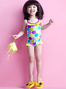 Dream Basha clothes color new 2012 big wave point harness connected children's clothing swimwear 014112207