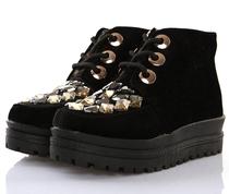 秋冬新款潮流内增高明星同款 高帮厚底松糕鞋 帆布鞋潮流女鞋靴子