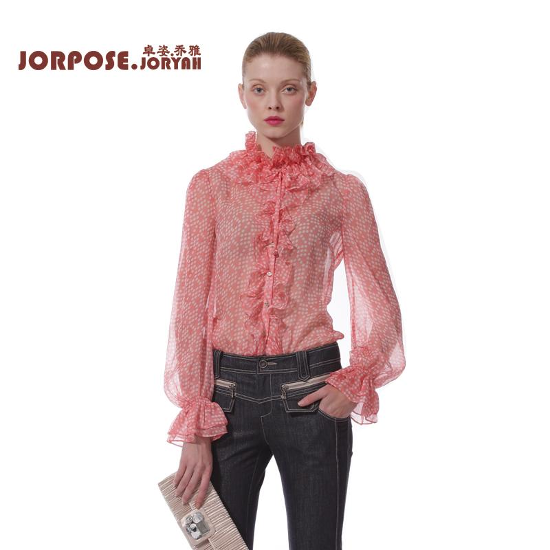 卓姿乔雅 春装新品波点堆堆领喇叭袖波底花边衬衫+小背心13ss8356