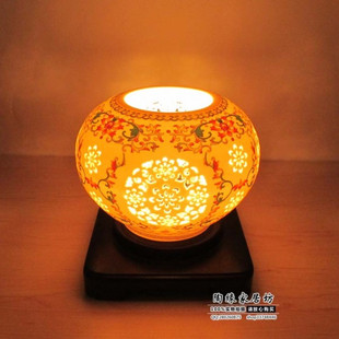 Home decoration light study bedroom lamp bedside lamp light ceramic lamp holes