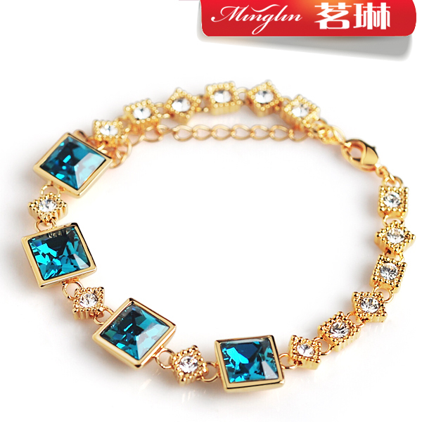茗琳采用蓝魔晶施华洛世奇元素水晶手链 女款 韩版 时尚 饰品