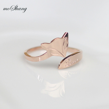 Genuine fox plated 18K rose gold color gold ring ring lovely female tail ring opening Firefox trinkets
