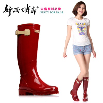 Good rain season handsome buckle Miss Gao Tong rain boots rain boots motorcycle boots for women can be equipped with warm socks