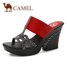 female camel camel leather shoes leather sandals with thick comfortable new fashion hot stones