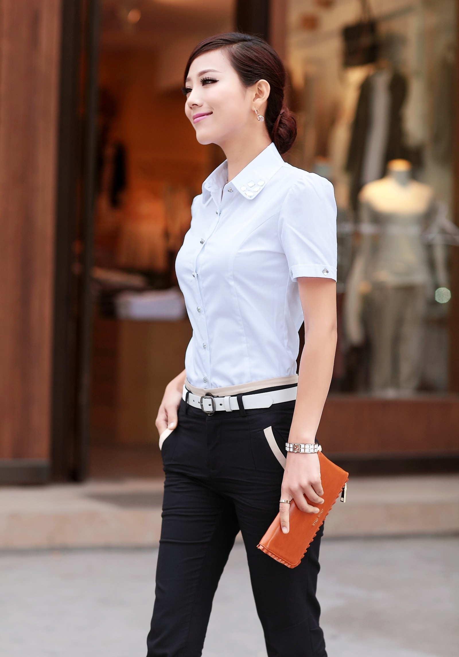Summer wear new cultivate one's morality shirt female lapel set auger cool OL cotton shirts with short sleeves Taobao Agent