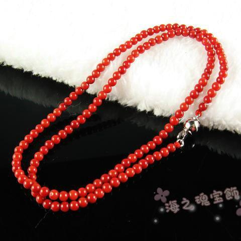 天然红珊瑚项链 3-12mm染色真珊瑚天然珊瑚女款项链本命年送礼特