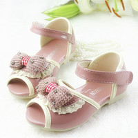 2014夏季新款 韩版 女童 蕾丝水钻蝴蝶结 鱼嘴凉鞋 童鞋女