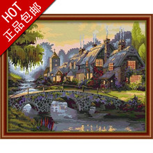 Package mail 40 * 50 drawing childe digital painting sunset the castle villa dream town town in the distance