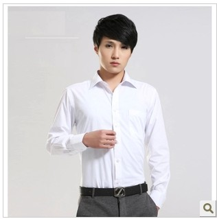 Рубашка мужская Plain white business men in suits long sleeve shirt cotton premium job interview tool for quality assurance of men's shirt