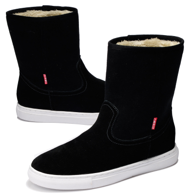 Bin wooden shipping black leather sleeve round split leather suede leather men's shoes popular boots in the snow tube