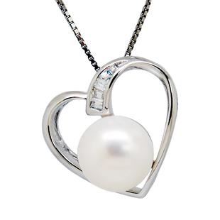 易燃火山正品 天然珍珠项链 吊坠 女 心形情侣项链 SP0555PL