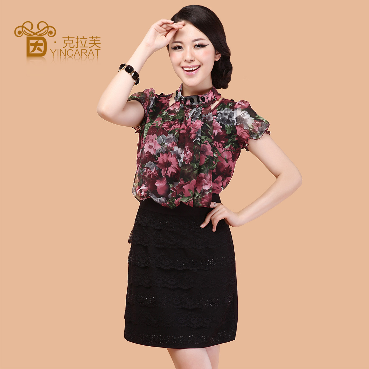2012夏装修身大码雪纺衫蕾丝连衣裙子夏季新款女装3686茵克拉芙_价格:356元
