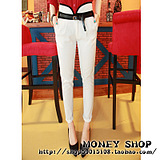 Korea super thin sense of colour matching vertical sent high-waist trousers for hemming pants feet pants belt