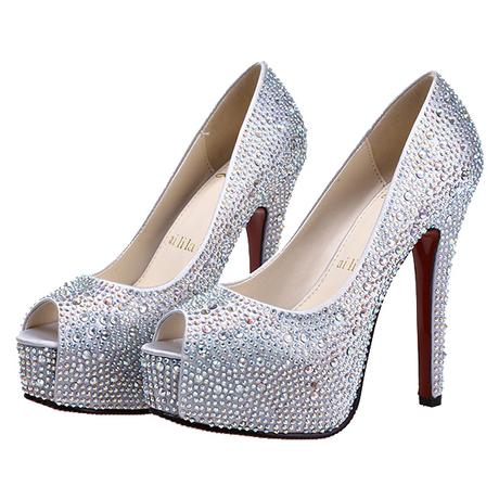 水晶同款新娘时尚鱼嘴女明星水钻单鞋鞋大小定二手起毛机图片