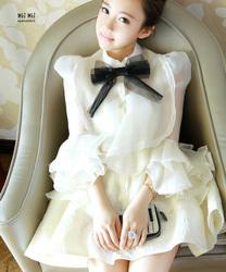 苛苛女2014春夏新款学生可爱甜美女装时尚蕾丝学院蝴蝶结衬衫上衣