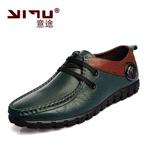 意途男鞋春季透气真皮休闲鞋流行豆豆鞋男士皮鞋正品英伦系带单鞋