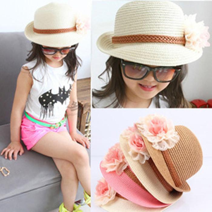 Головной убор Корея корейских детей в лето пляж рыбака Hat Hat девочек солнце шляпа солнца козырек шляпа соломенная шляпа Лян Мао