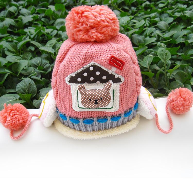 Головной убор Специальные утолщенные ребенка двойной вязание шерсть шляпа уха-5