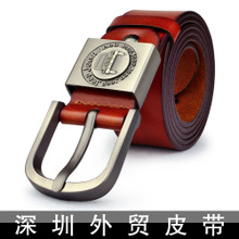Belt male pure cowhide leather belts Belt leisure personality tide pin buckle Men's belt jeep