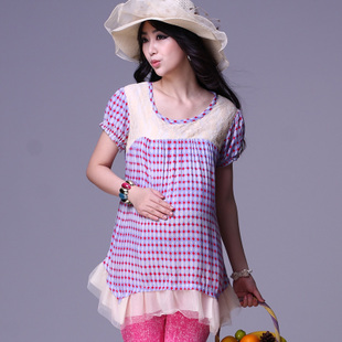 Oubuyanuo on summer maternity dresses new fashion dress length cotton loose abdominal great pregnancy t-250