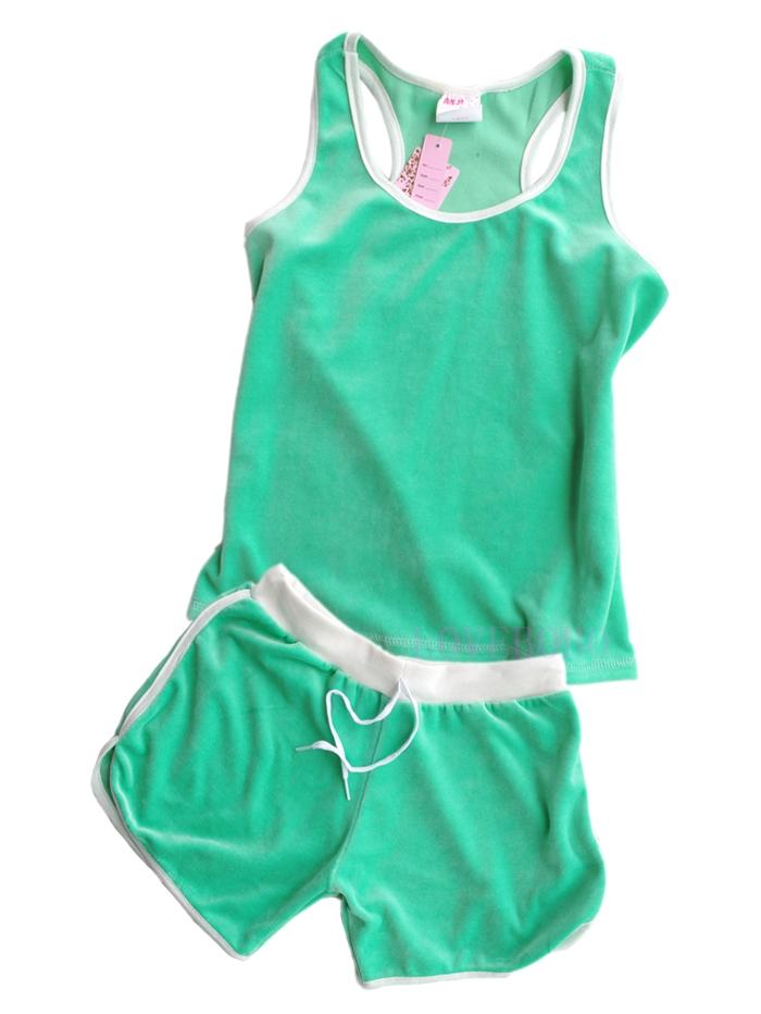 juicy风格背心短裤特价天鹅绒运动套装休闲女特价新款夏装苹果绿
