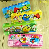 A495 plastic multi-layer double-sided pencil case with pencil sharpener stationery angry bird 019KG