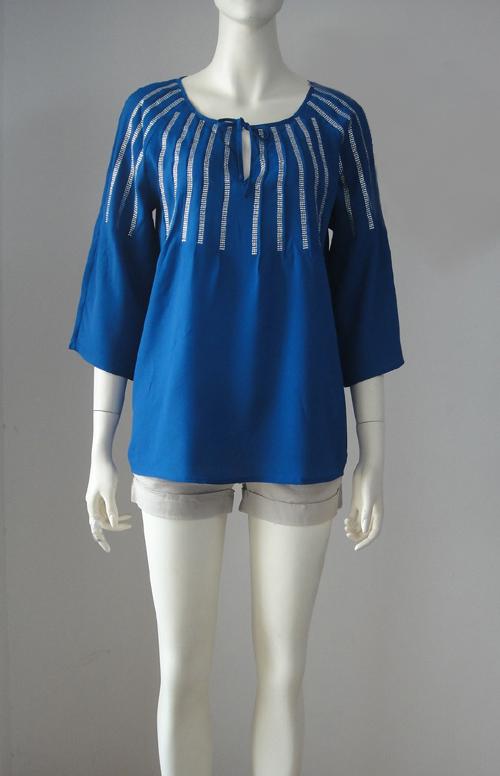 женская рубашка Европа и Перл свободную установку рубашку c * k белый ярлык Горячие специальные предложения Городской стиль Однотонный цвет О-вырез