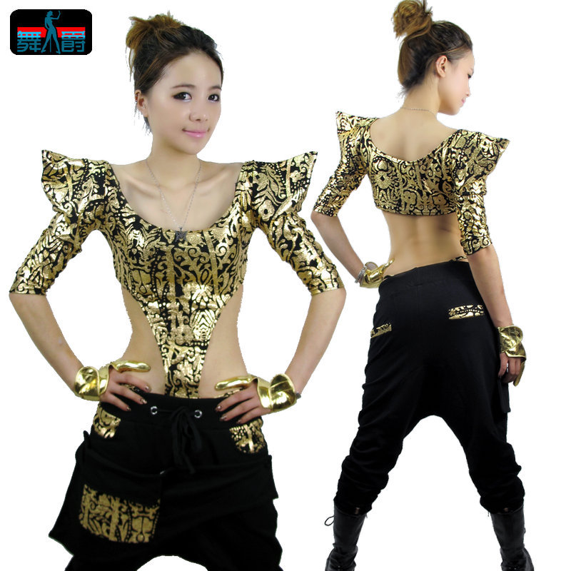 The new fashion bronzing shrug hip-hop Jazz Top Female HipHop Street stage DS dance clothing costumes (Color classification:The golden) (Size:All code)