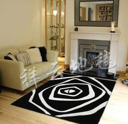 黑白色地毯 手工特价时尚简约 卧室客厅沙发茶几地垫 中式地毯