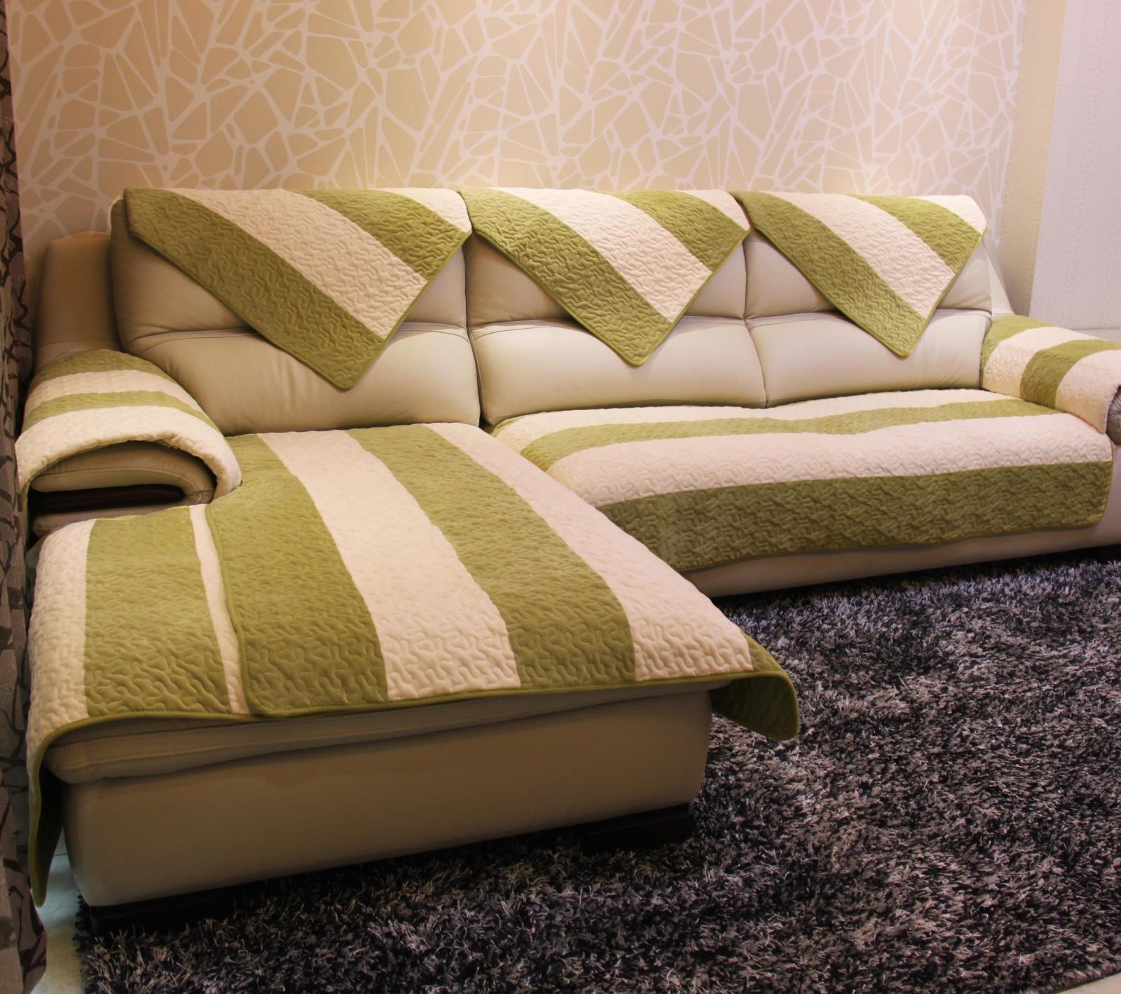 白绿条纹沙发垫绒布艺简约现代加厚防滑坐垫沙发巾飘窗垫定做