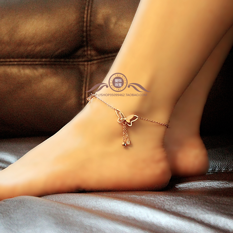 New Europe drill fringed pink gold Butterfly anklet female temperament 18K matte gold plated titanium steel Korea jewelry