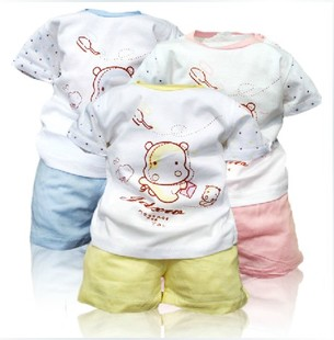  coin Hippo baby clothes baby clothes both document pattern, head and shoulder buckle set short sleeve shorts
