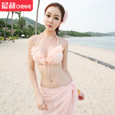 Xi poem Viagra female swimsuit small chest gather steel prop sexy bikini three-piece band yarn beach spas