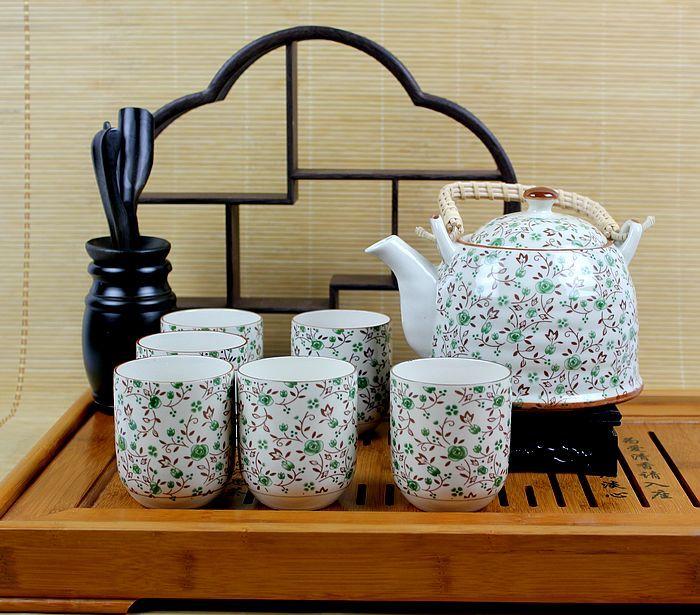 景德镇沁玉陶瓷 功夫提梁茶具7件套装居家生活日用套装礼品 T126