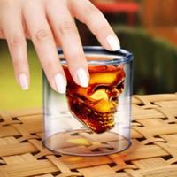创意双层玻璃杯伏特加骷髅红酒酒杯水茶杯透明海盗吸血鬼杯子批发