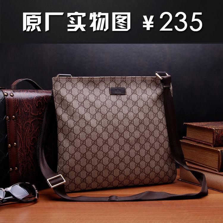奢侈品牌简洁pvc配真皮斜背包 g家酷奇男包包gucci 201446代购图片