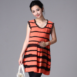 Oubuyanuo 2012 Summer large code breathable pot Po put new stripe skirt dress soft pregnant women 211