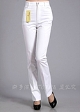 Amoi spring dress mother dress pants trousers 100% cotton to increase code old high waist casual pants white