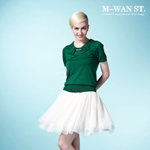 M-WAN ST. Mei Wan Street 2012 Summer new style beautiful double tie collar short sleeves silk blouse
