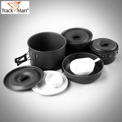 TrackMan outdoor camping cookware set 16 sets of home portable BBQ grill camping cookware genuine special