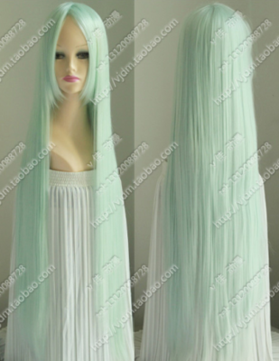 Light green 100cm meter long hair straight hair Hatsune bouquet bouquets / Enki have fake hair wig cosplay