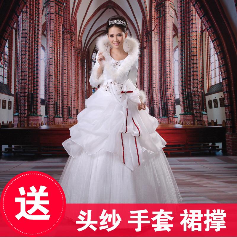 月月新娘  冬季婚纱  冬天新娘婚纱 2012新款棉婚纱 加棉婚纱4017