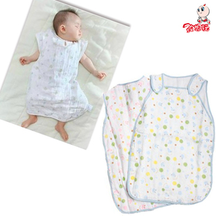 Babies spring summer thin 6 thick cotton baby sleeping bags baby summer kick-proof vest gauze clothing