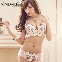 Xue hua xin together form a sexy bra adjustment Thin embroidery vice milk cup underwear suits four a bra